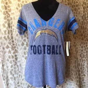 NWT NFL San Diego Chargers Bling Vneck Top
